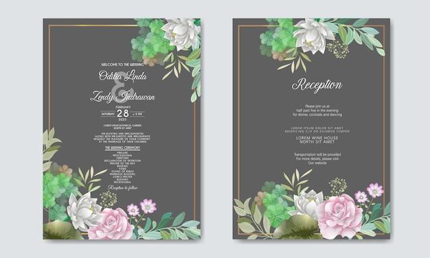 Свадебные приглашения с красивым и элегантным цветочным Premium векторы