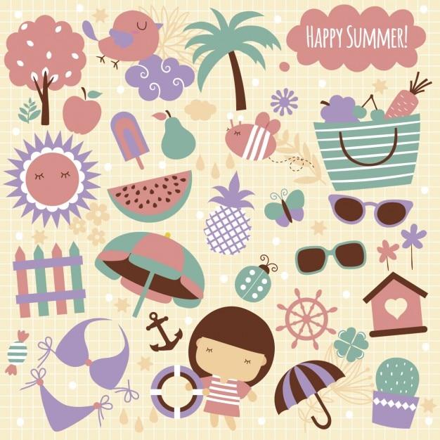 夏の要素のイラスト 無料ベクター