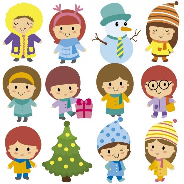 クリスマスの子供 無料ベクター