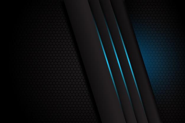 空白スペースデザインモダンで豪華な未来的な背景に青い光線と抽象的なダークグレー Premiumベクター