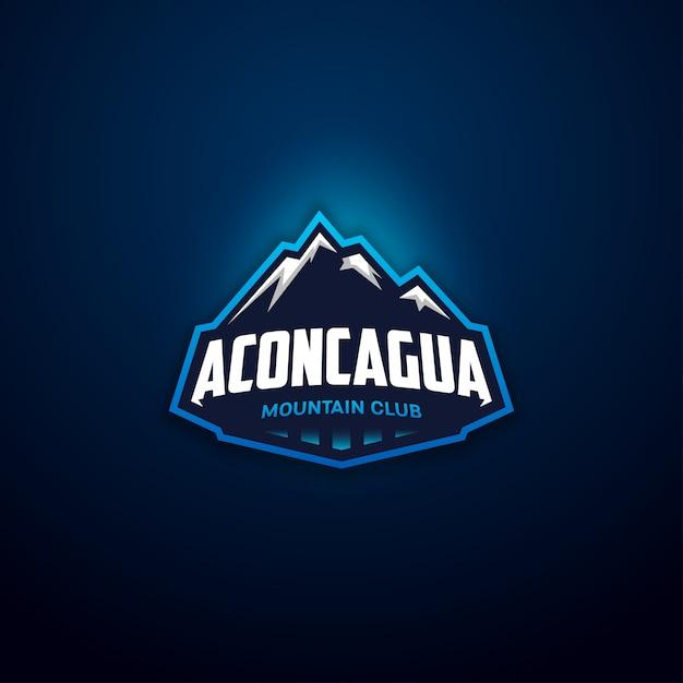 現代の山クラブバッジロゴ Premiumベクター