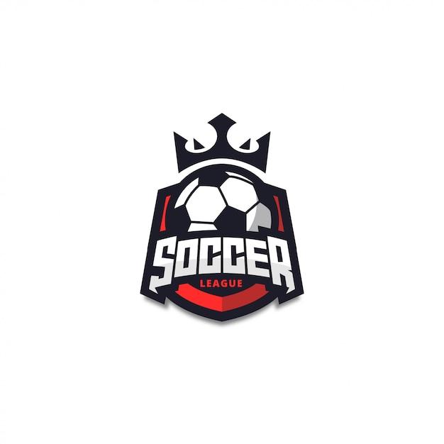 モダンレッドサッカーロゴバッジ Premiumベクター
