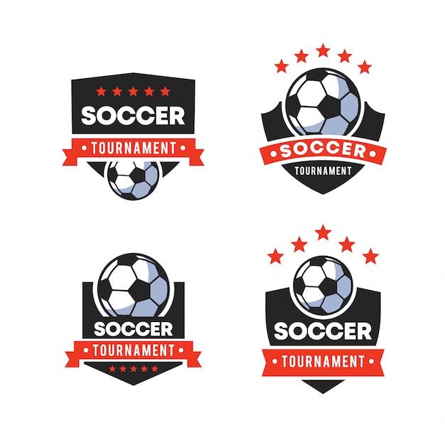 サッカーのロゴバッジ Premiumベクター