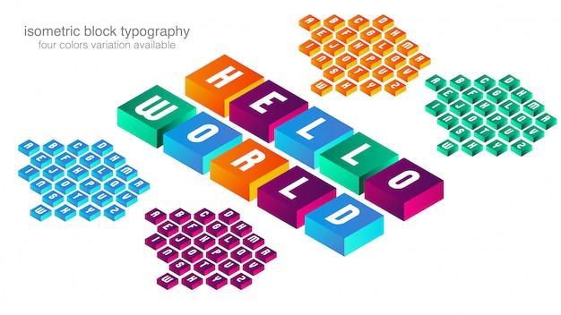 Красочный изометрические блок типография дизайн Premium векторы