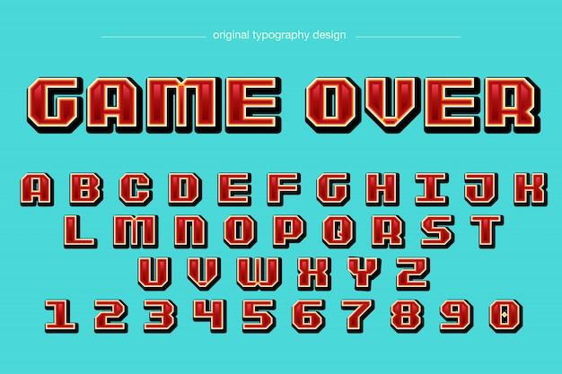 Пиксель стиль красный типография дизайн Premium векторы