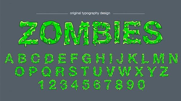 Типография дизайн зеленой слизи Premium векторы