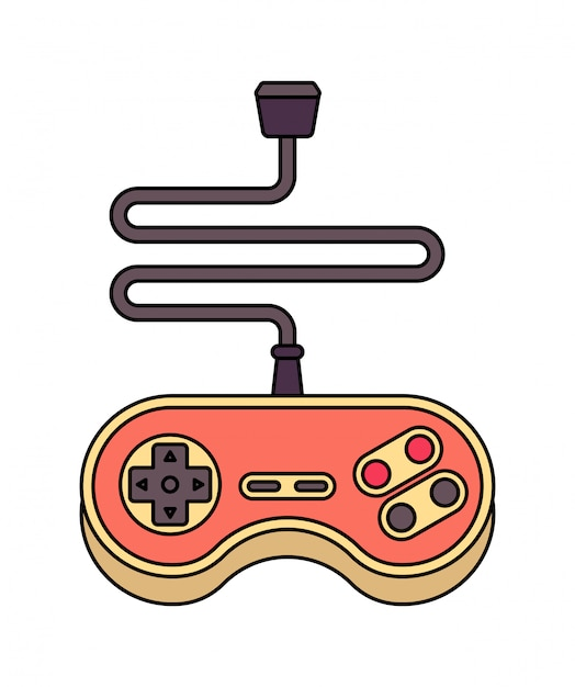 ジョイスティックが分離されました。レトロなゲームパッド。ビデオゲームコントローラ Premiumベクター