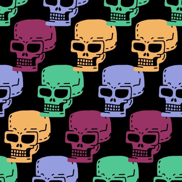 頭蓋骨漫画のシームレスパターン。スケルトンヘッドデッサン飾り。 Premiumベクター