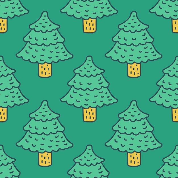 クリスマスツリーの描画パターン。モミの漫画のスタイル。スプルースの背景 Premiumベクター