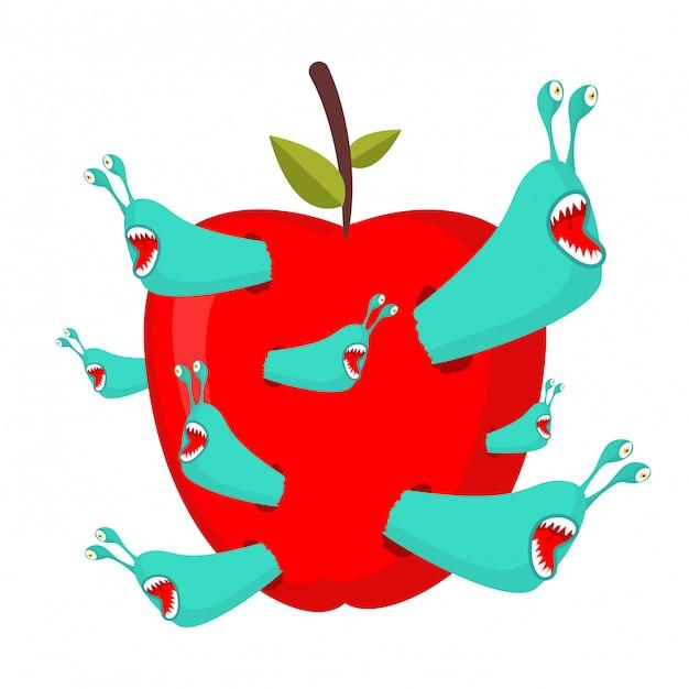 Черви едят красное яблоко. Premium векторы