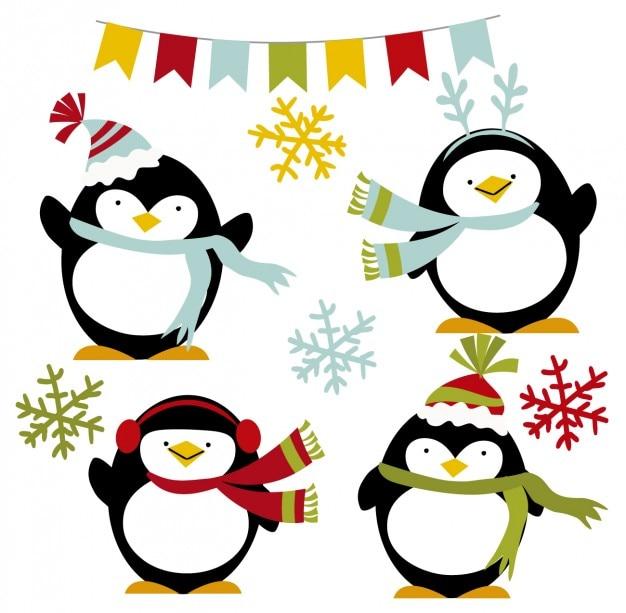 Счастливые пингвины зимой Бесплатные векторы