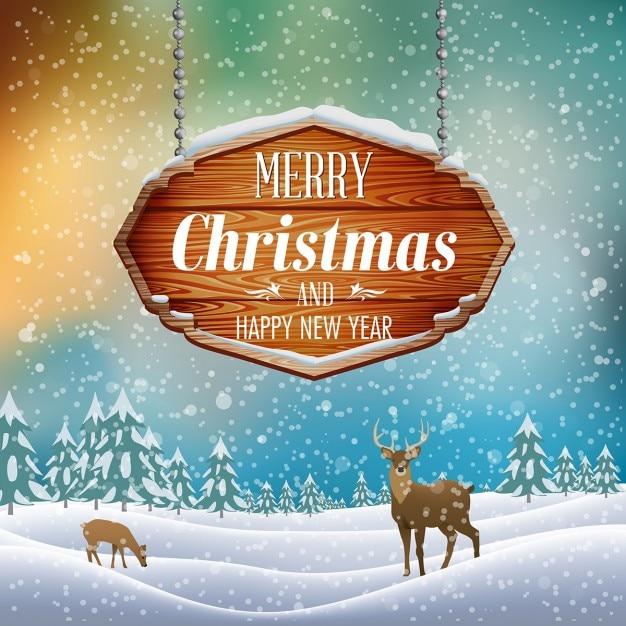 Рождественский пейзаж с деревянным знаком векторной иллюстрации Бесплатные векторы