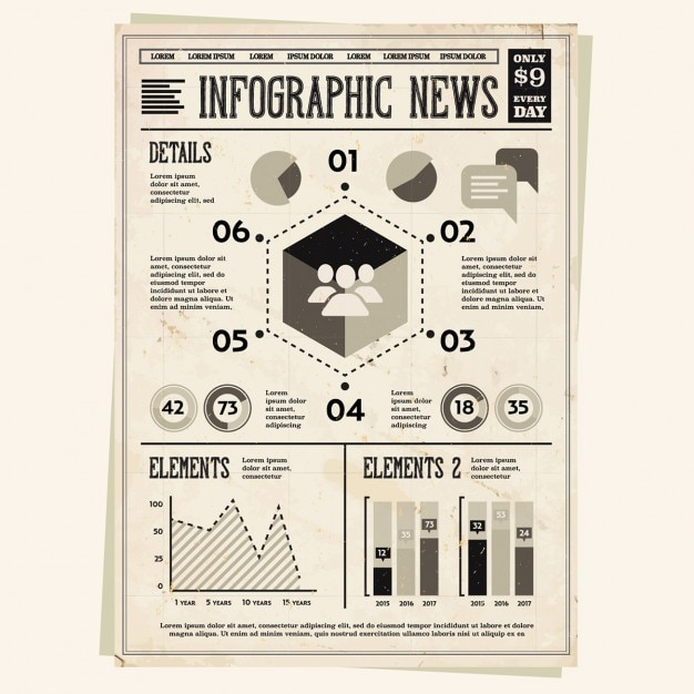 インフォグラフィック要素のセット 無料ベクター