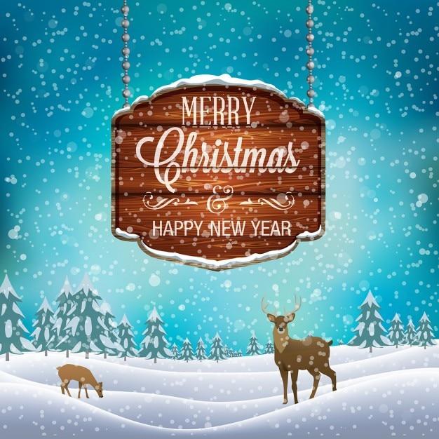 木製看板やトナカイとクリスマスの冬の風景 無料ベクター