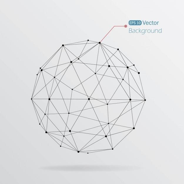 幾何学的な線状の球と背景 無料ベクター