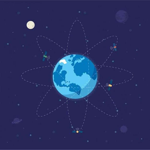 周りの衛星と地球儀 無料ベクター