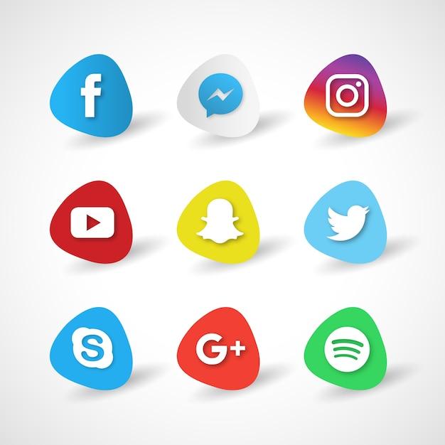 Красочные иконки социальных медиа Бесплатные векторы