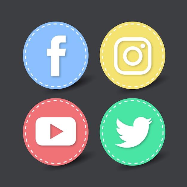 Четыре иконки социальных медиа Бесплатные векторы