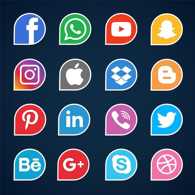 ソーシャルメディアアイコンセット 無料ベクター