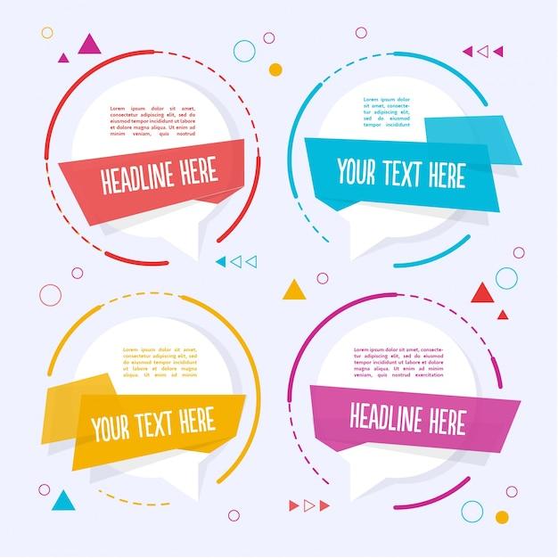 Четыре цветных текстовых шаблона Бесплатные векторы