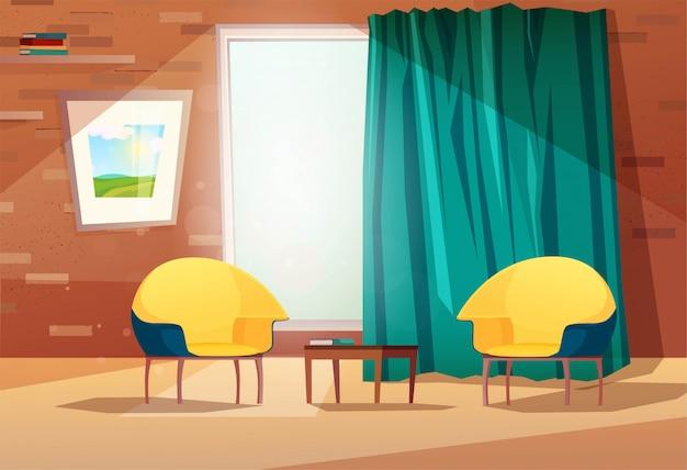 Интерьер гостиной с креслами, столом, рисунком на стене, окном и занавеской. кирпичная стена с полками. иллюстрации. Premium векторы