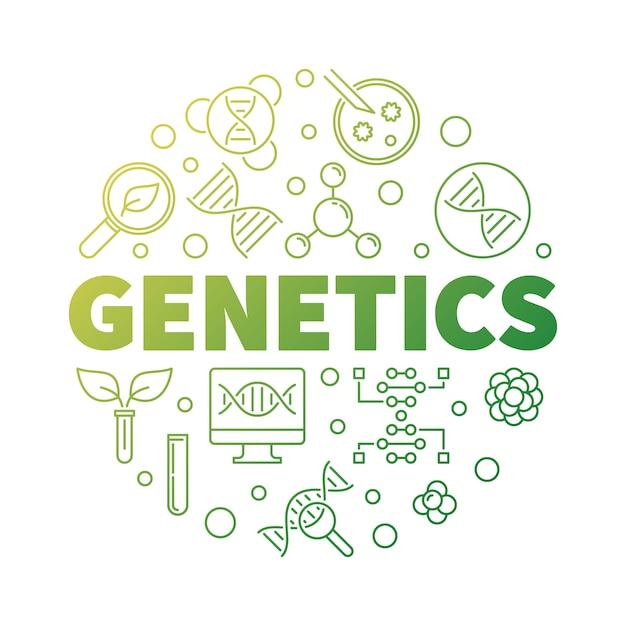 遺伝学ベクトルラウンド生物学グリーンアウトライン図 Premiumベクター