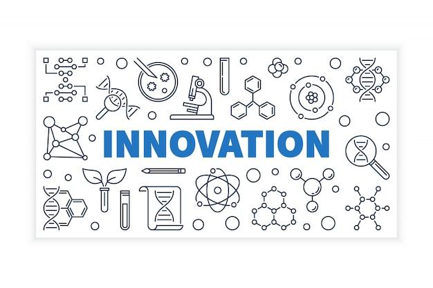 イノベーション科学アウトラインベクトルバナー。 Premiumベクター