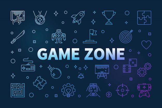 Значки цветных контуров игровой зоны Premium векторы
