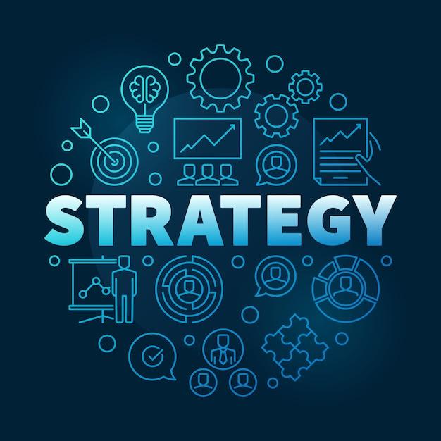 Векторная стратегия круглый синий контур иллюстрации Premium векторы