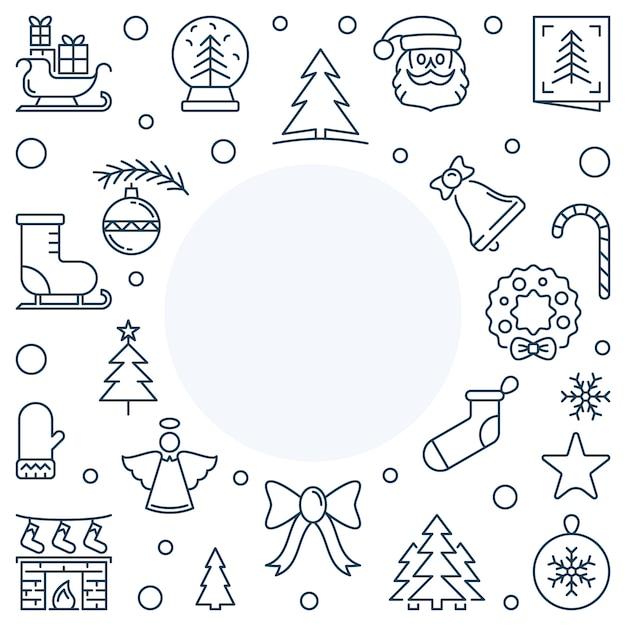 Рождество или новый год праздник вектор линии квадратная рамка Premium векторы