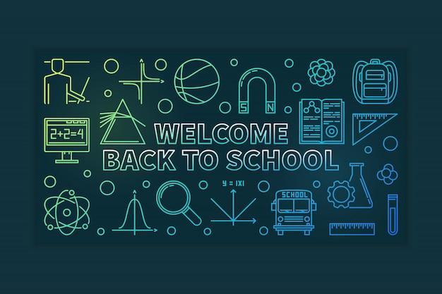 Добро пожаловать обратно в школу наброски баннер Premium векторы