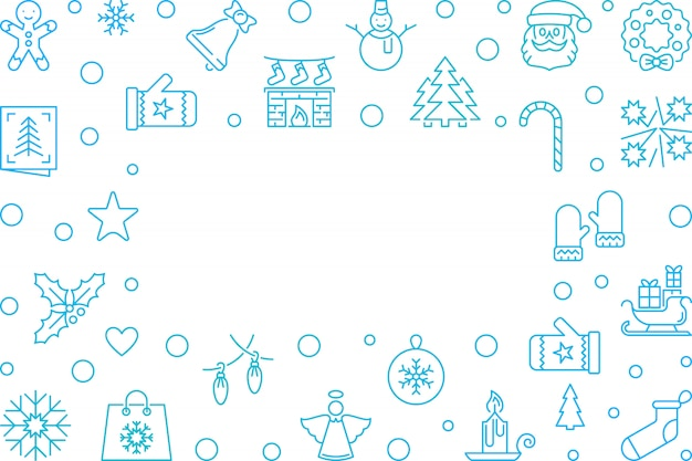クリスマスと新年のブルーのアウトラインフレーム Premiumベクター