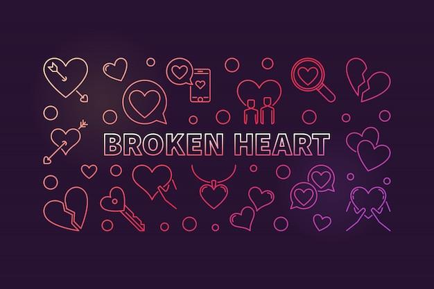 Разбитое сердце концепции цветной контур иллюстрации Premium векторы