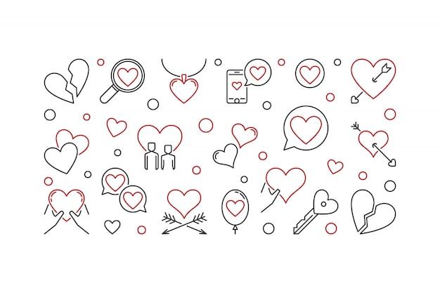 Любовь наброски иллюстрации Premium векторы