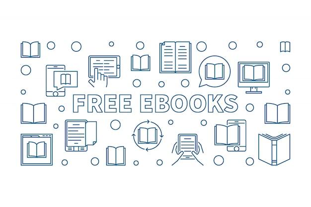アウトラインスタイルの無料の電子書籍の水平アイコンイラスト Premiumベクター