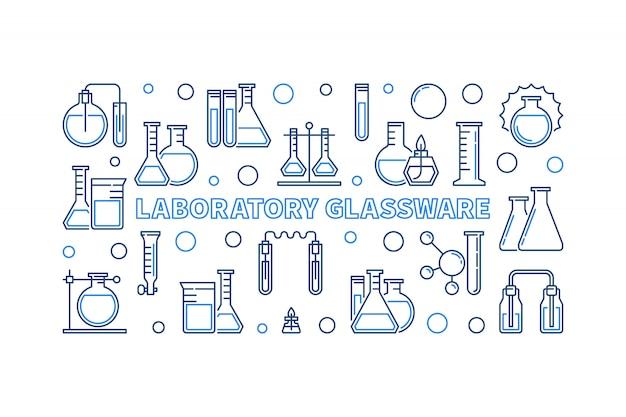 Лабораторная посуда синий контур горизонтальный значок иллюстрации Premium векторы