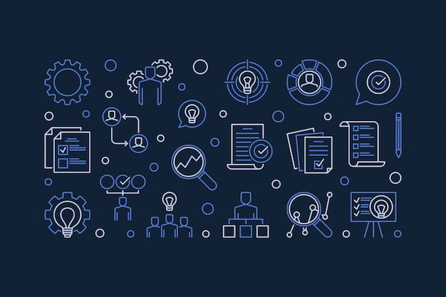 Бизнес-план действий значок линии иллюстрации Premium векторы