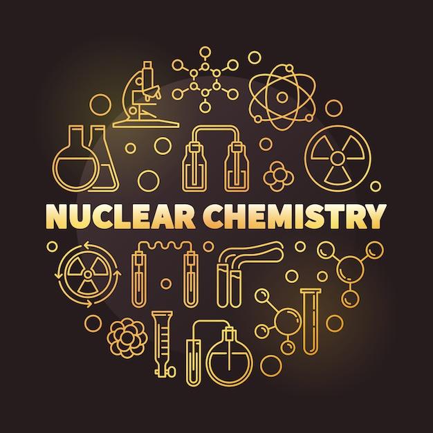 Ядерная химия золотой круглый контур иллюстрации Premium векторы