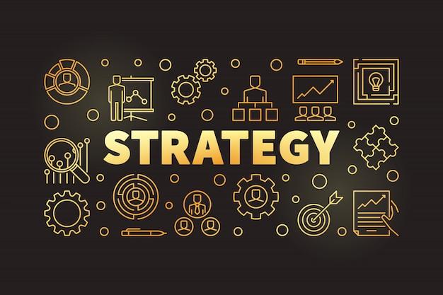 戦略ゴールデンアウトライン水平図またはバナー Premiumベクター