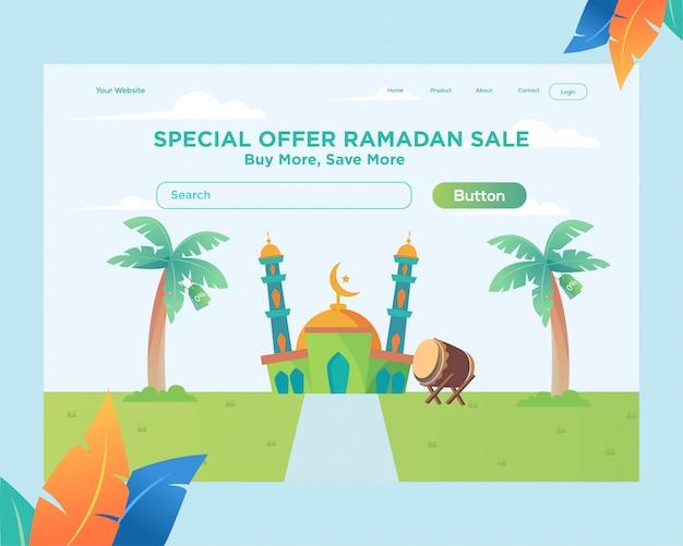 Шаблон целевой страницы, шаблон веб-сайта рамадан с дизайном мечети Premium векторы