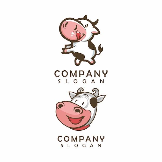 Корова логотип, шаблон, иллюстрация Premium векторы