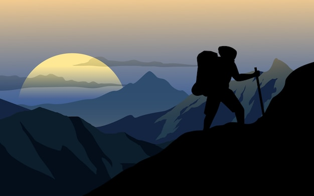 日没で山を登るだけで男 Premiumベクター