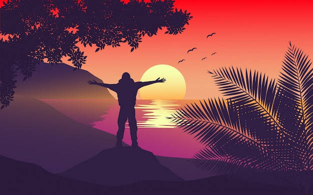 日没でストレッチの腕を持つ袖口に立っている人 Premiumベクター