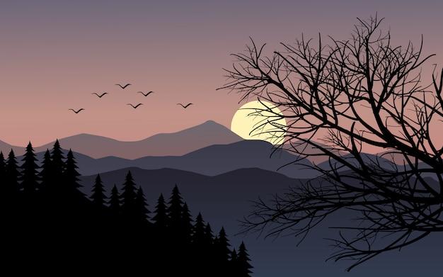 木の枝と山の日没の風景 Premiumベクター