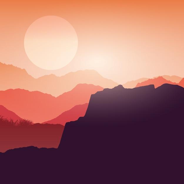 日没時のキャニオン風景 無料ベクター