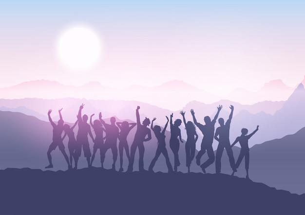 日没の風景の中のパーティーの群衆 無料ベクター