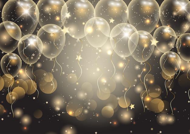 金の風船でお祝いの背景 無料ベクター
