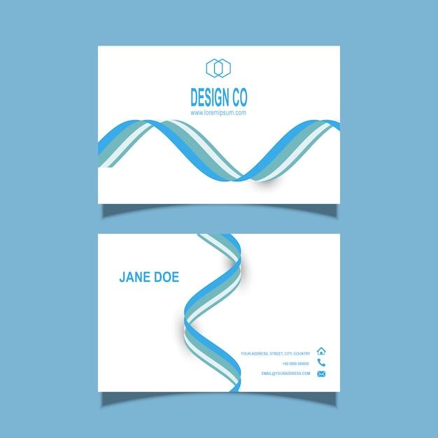 流れるようなラインデザインの名刺テンプレート 無料ベクター