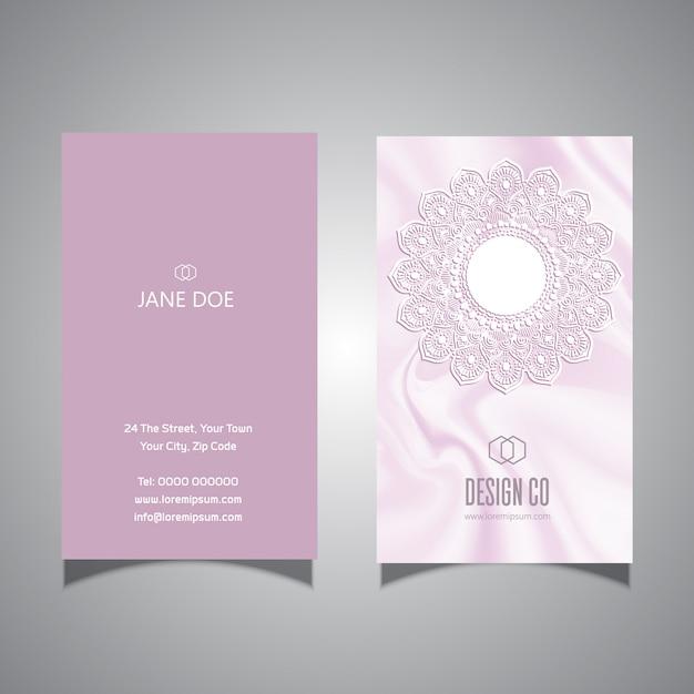 エレガントなピンクのレースデザイン名刺テンプレート 無料ベクター