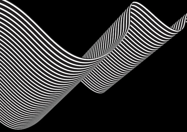 Абстрактный фон с развевающимися полосами Бесплатные векторы
